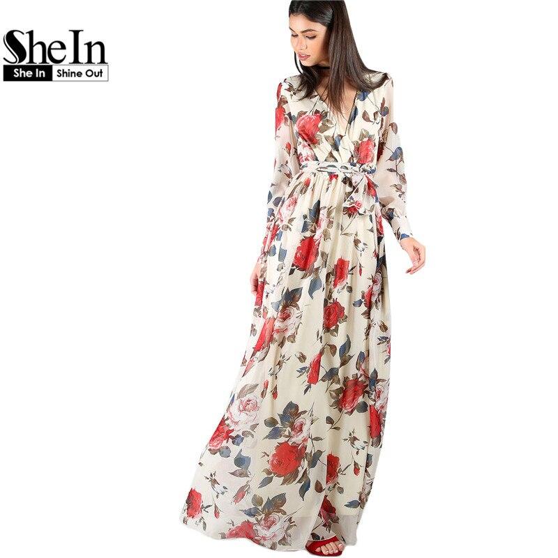 Shein mujeres floral dress boho línea maxi dress multicolor estampado de flores