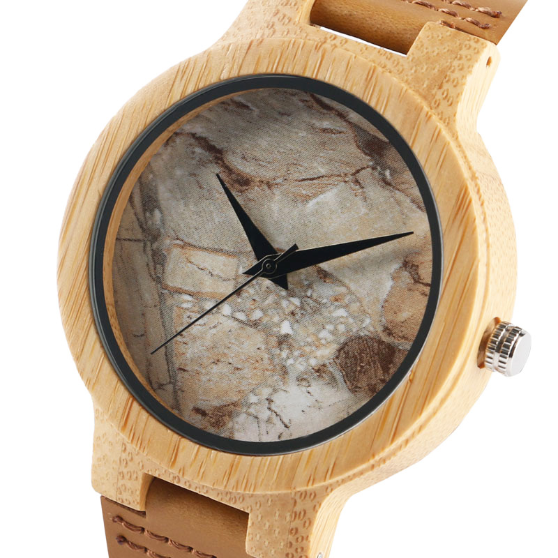 Sport Mens Wooden Watch Cool Marble Stone Rock Pattern Japanese Quartz Wristwatches Time Leather Strap Nature