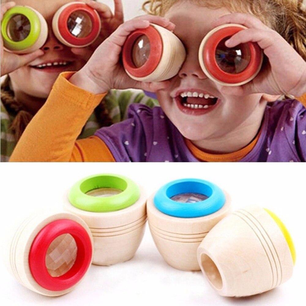 Magic Educational Toy Multi-prism Bee-eye Effect Wooden Kaleidoscope Fr Children