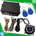Rfid sistema de alarme de carro invisível com luz running vermelha iniciar botão de parada de partida do motor remoto de alarme remoto