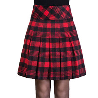 M 5XL Winter Pleated Skirt Woman Korean A Line Thin Plaid Skirts Women Promotion Large Size