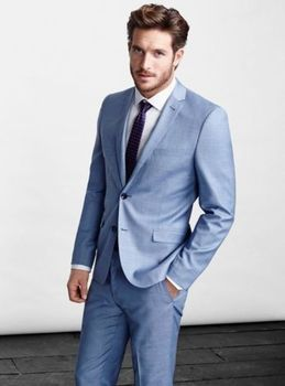 2017 New Arrival Sky Blue Notch Lapel Groomsmen Tuxedos Weddings Suits Men's Formal Prom Wear Suits Blazer (Jacket+Pants+Tie)