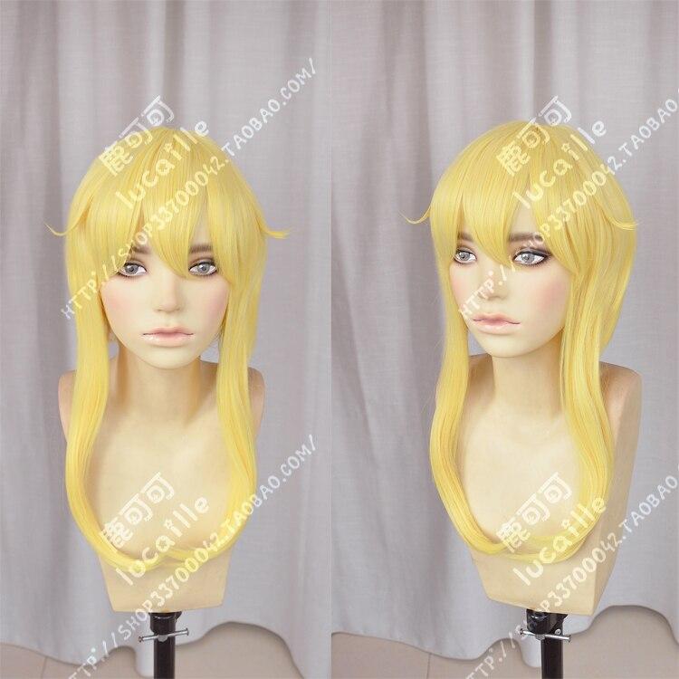 Kakegurui Mary Saotome Meari Blonde Ponytail Hair Heat Resistant Cosplay Costume Wig + Silk Ribbon + Wig Cap