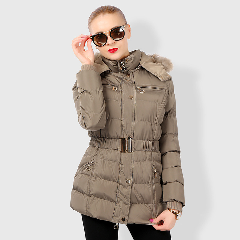 Women Padded Down Jacket Coat 2017 New Winter Medium Long Section Down Thick Fur Collar hooded Adjustable Waist warm jacket