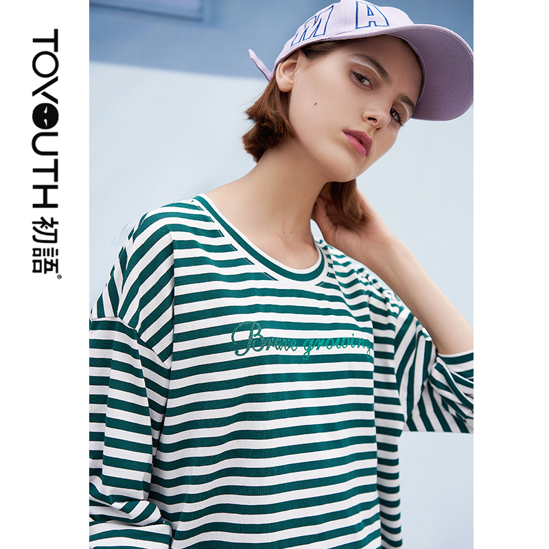 Toyouth Korean Style T Shirt Harajuku O Neck Cotton Top Long Sleeved Striped Tops Female T Shirt Spring Casual Tops