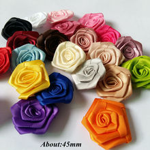 40 pcs/lot 45mm polyester rolled rose flower girl's and women hair accessories rosettes craft accessories scrapbooking products цена