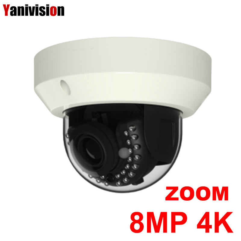 8MP 4K Ultra HD Outdoor Vandalproof Dome ip Camera H.265 3X Motorized Zoom CCTV Camera Security Camera Outdoor POE 30m IR ONVIF hikvision original international h 265 8mp mini outdoor ip camera ds 2cd2085fwd i 4k bullet cctv camera poe onvif ip67 ir 30m