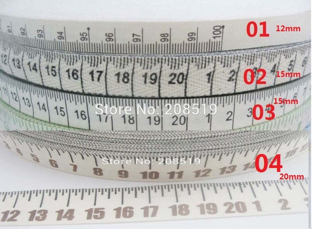 CR0007 Width 12MM 15MM 20MM Printed 20cm100cm Ruler 100 Cotton Ribbon 30 Meter Gift Craft Accessories
