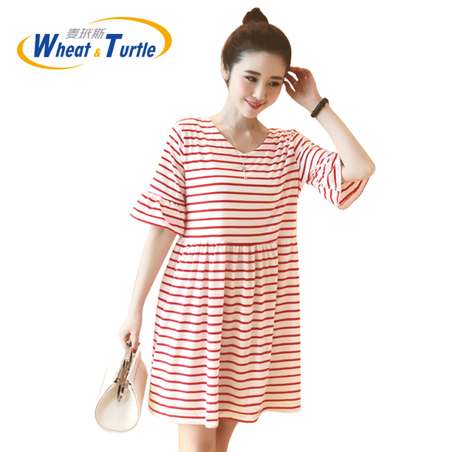Hot Sale 2016 Summer New Arrival Maternity Dress Fashion Casual Strip Short Sleeves Soft Ultra Thin Clothes For Pregnant Women
