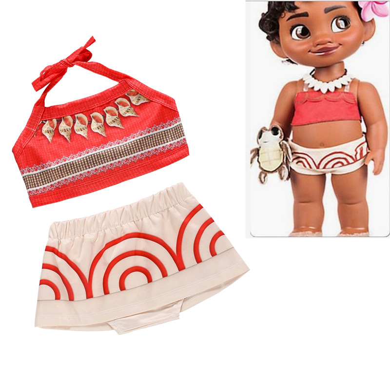 2PCS Little Girls Moana Dress Baby Birthday Swimsuit Kids Toddler Cute Cartoon Bikini Bathing Swimwear Princess Cosplay Costume