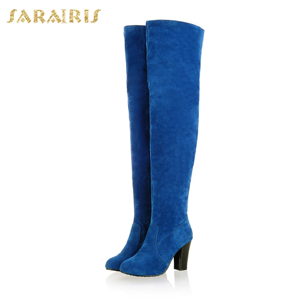 Rodilla Sobre 2018 Botas Moda Sarairis Mujer Fur Fur Fur Zapatos Flecos 43  Piel Altos blue ... 453fe301702a