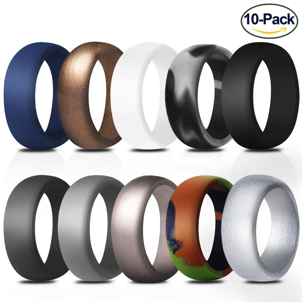 10PCS 8.7mm Wide Arc 10 Color Silica Gel Male Character Silicone Exercise Ring For Men