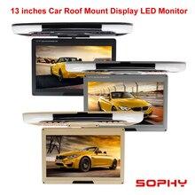 """13 """"monitor conduzido da cor do carro do monitor da montagem do telhado do monitor da tela digital 12v com entrada de vídeo dupla av para o ônibus do carro"""