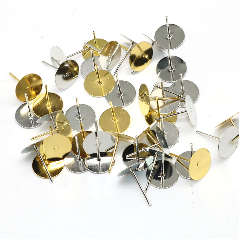 200pcs/lot 13*10mm Silver Gold Plated earrings earpins flat support Zinc Alloy Earring Back Jewelry Findings Components