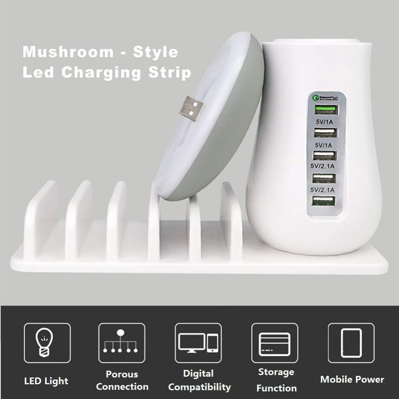 Multi Port Quick Charger 3.0 Mushroom Lamp QC3.0 Fast Charging for Smart Phone + Led Lamp +USB Charge Station Dock 5V 2.1A EU US