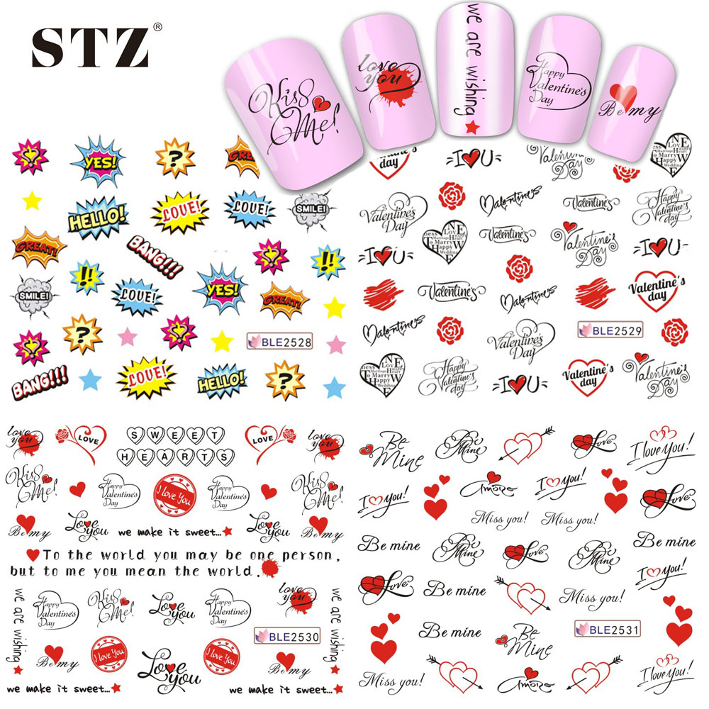 com buy sheets nail sticker water transfer com buy 1 sheets 2017 nail sticker water transfer letter designs love kiss me hello for women diy tips nails beauty decals ble2528 2531 from