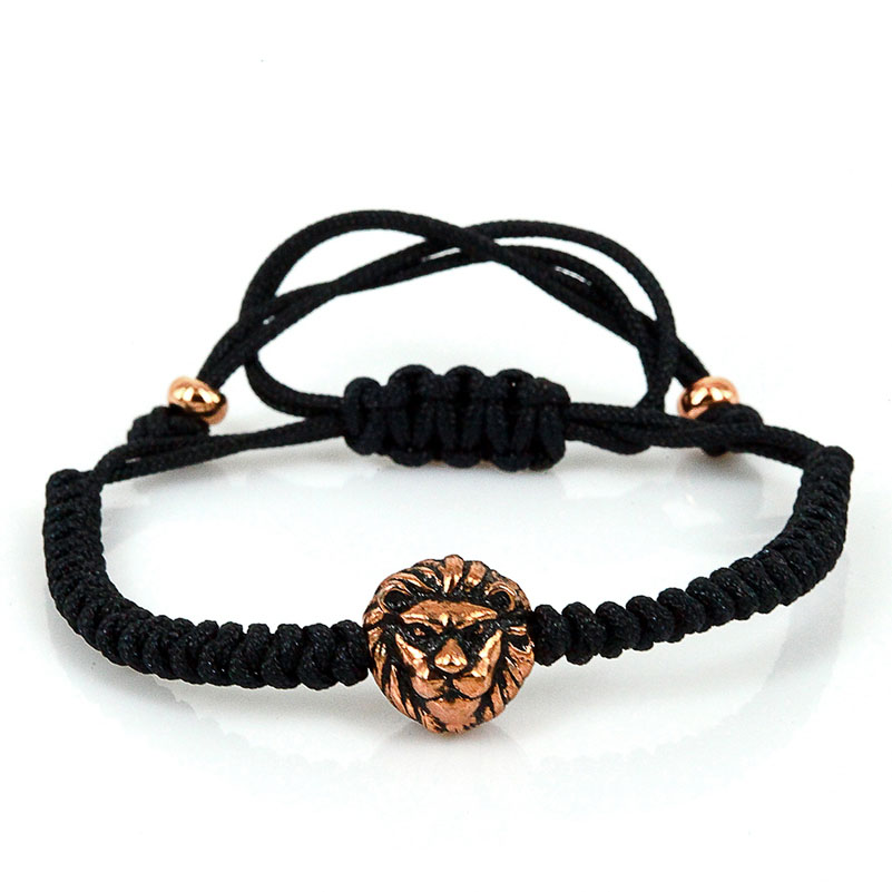 Lion font b Bracelet b font Men font b Jewelry b font 2016 Black Cord Rose