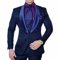 Navy Blue Men Suits With Pants 3 Pieces Paisley Jacket Tuxedo 2018 Men Suit For Wedding Groom smoking Terno Masculino Slim Fit