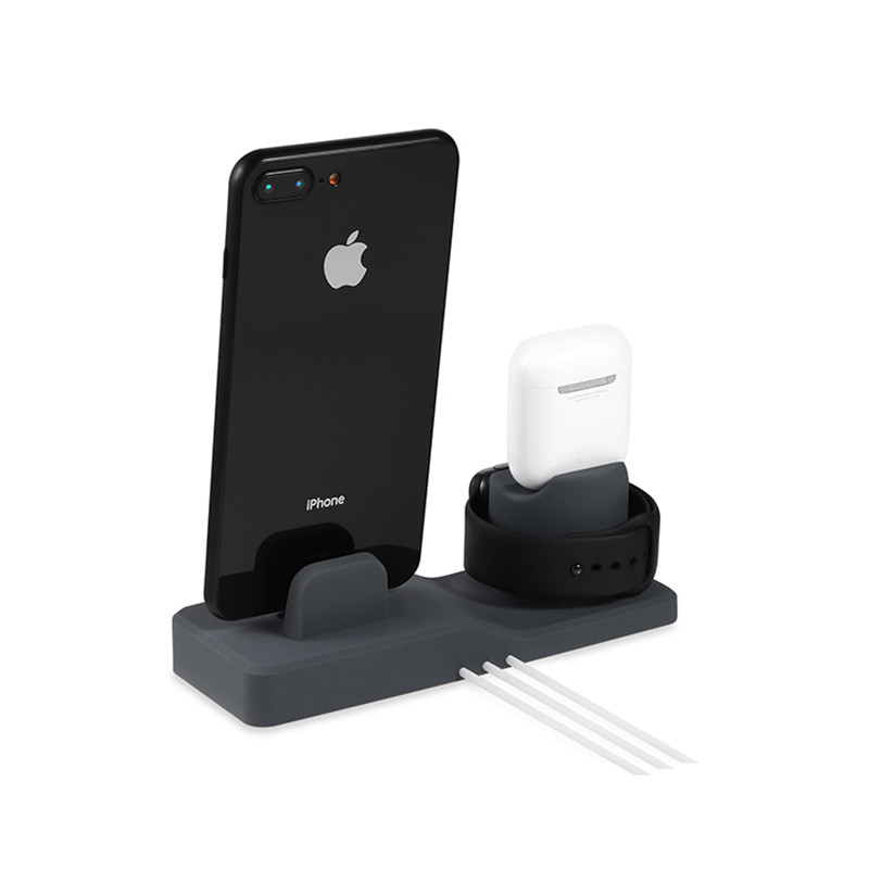 3 in 1 Charging Dock Holder For Iphone X XS Iphone 8 Iphone 7 Iphone 6 Silicone charger stand Dock Station Apple watch Airpods in Phone Accessory Bundles Sets from Cellphones Telecommunications