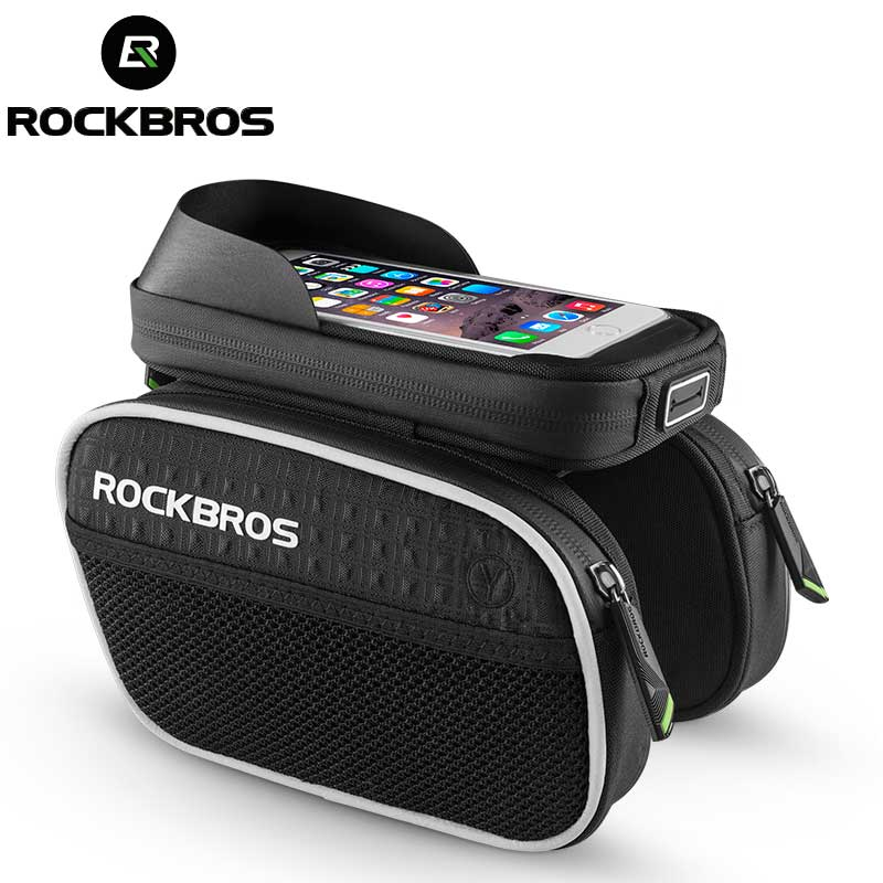 ROCKBROS Bike Bag Rainproof Touch Screen MTB Cycling Bicycle Bag Reflective Frame Top Tube Phone Bag 6.0