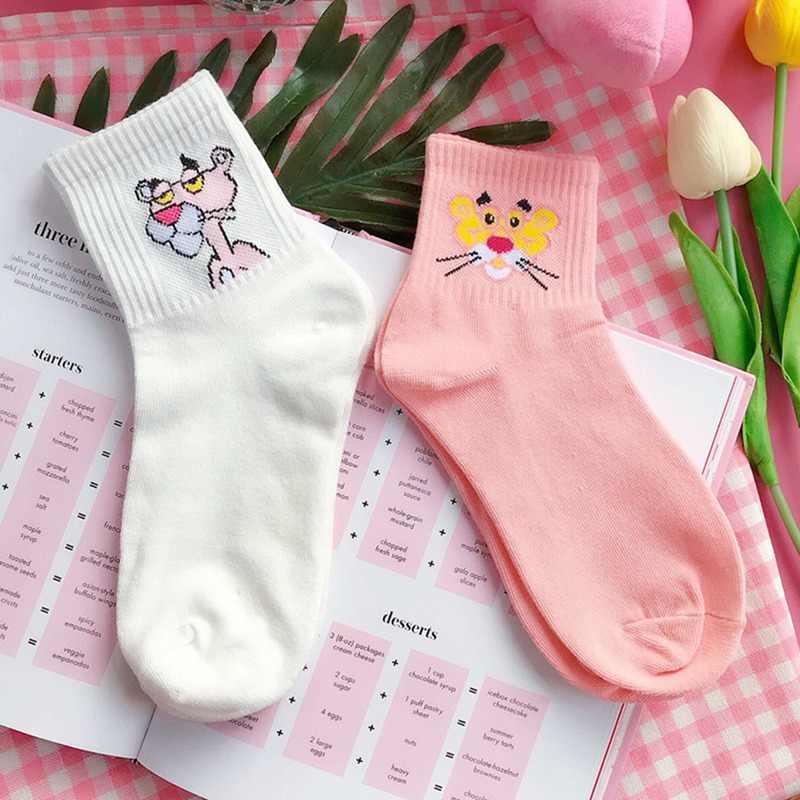 日本かわいい女性動物刺繍漫画のチューブソックスかわいいピンクパンサー綿の靴下原宿レディースカラフルなおかしいソックス