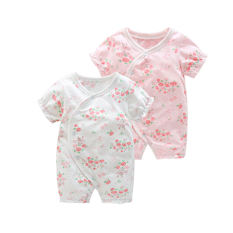 Summer Baby Girl Clothes   Rompers   Newborn Short Sleeve Boxer   Romper   Baby Jumpsuit Pure Cotton Newborn Pajamas For Girls Wear