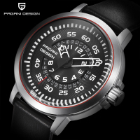 PAGANI DESIGN Mens Watches Top Luxury Waterproof Leather Quartz Watch Men Unique Design Hollow Calendar Men
