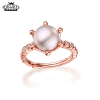 DELIEY 100 925 Sterling Silver Perfectly Round Freshwater Pearls Crown Shaped Rings For Women Engagement Wedding