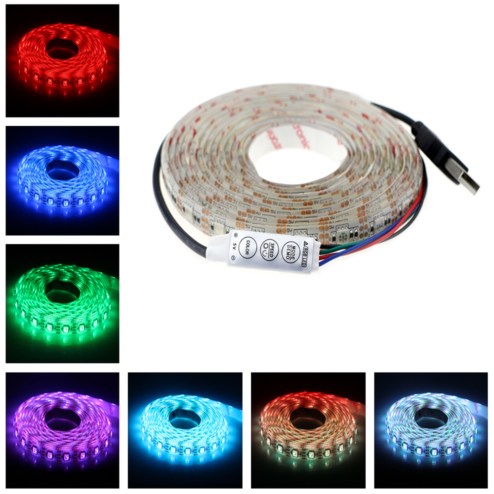 1M/2M/3M 60/120/180LED 5V USB Cable LED strip light lamp SMD5050 Christmas Flexible Led Stripe Lights TV Background Lighting