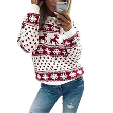 New Women Fawn Print Christmas Sweaters 2018 Lady Jumper Sweater Pullover Tops Coat Winter Ladies Warm Brief Sweaters Clothing