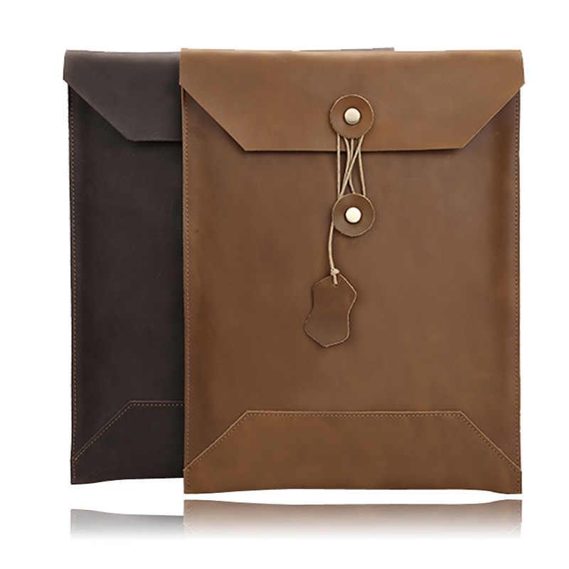 Ретро Водонепроницаемая коровья кожаная сумка для ноутбука чехол для Apple Macbook Air Pro 11 12 13 15 retina с сенсорной панелью