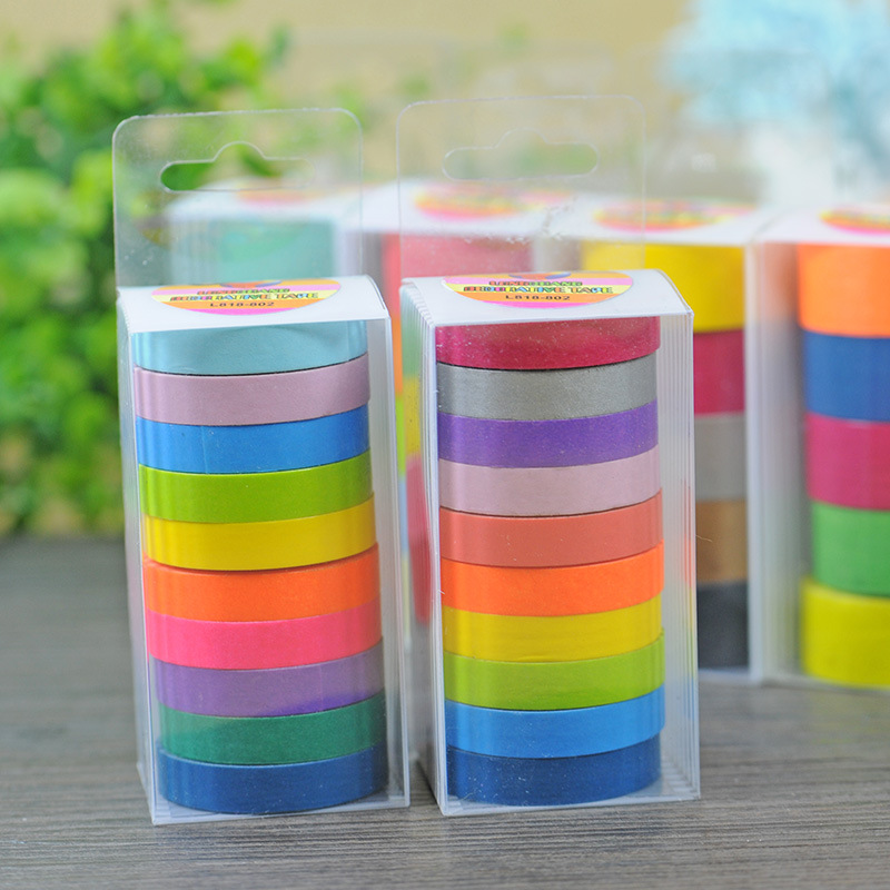 (10 Pieces/lot)DIY Rainbow Washi Tape Masking Tape Self Adhesive Tape Scrapbooking Decorative Scrapbook Tape Gift