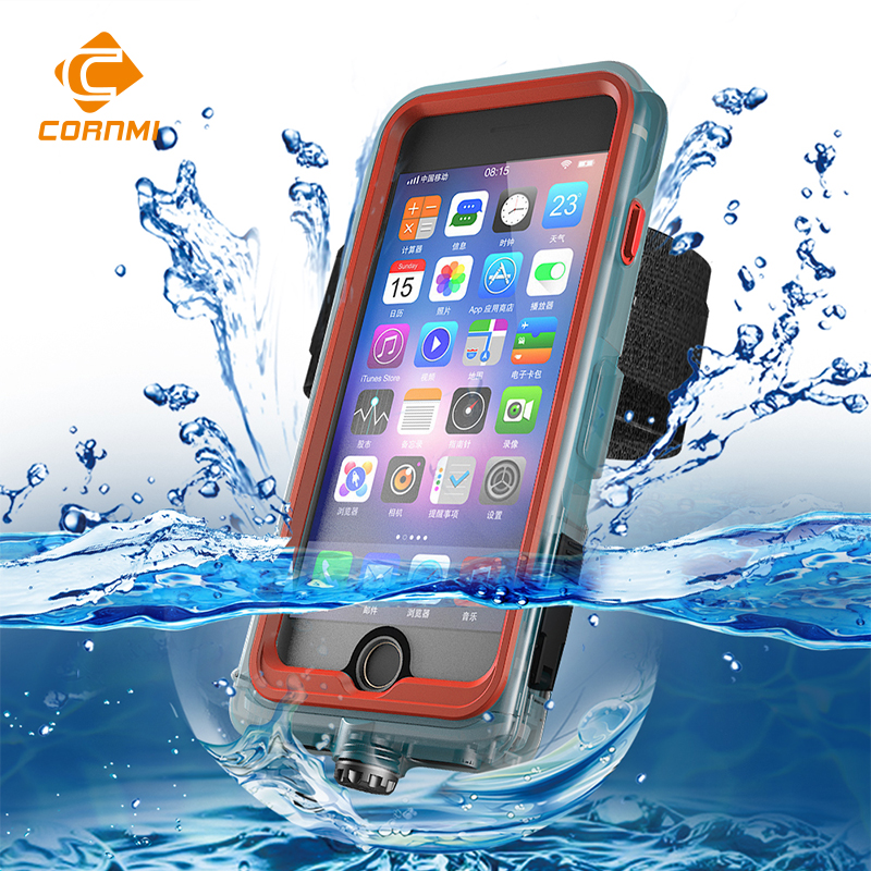 Waterproof Case For iPhone 8 Plus Cover Full Coverage 360 Degree 5.5 inch Protective Housing Holder PC+TPE+Silicone Shell CORNMI