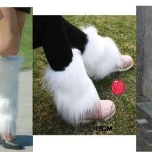 Стиль белые сапоги манжеты Пушистые мягкие Меховые ножки гетры ботинок обувь покрытие 101601