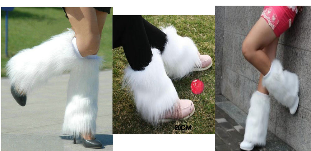 New Style White Boot Cuff Fluffy Soft Furry Faux Fur Leg Warmers Boot Toppers Shoes Cover 101601