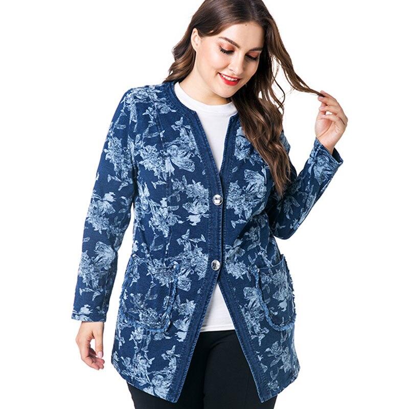 e3922d8c142 Miaoke plus size vintage long sleeve denim jacket women clothing 2018  autumn new fashion print fall jean oversiz jacket coat -in Basic Jackets  from Women s ...