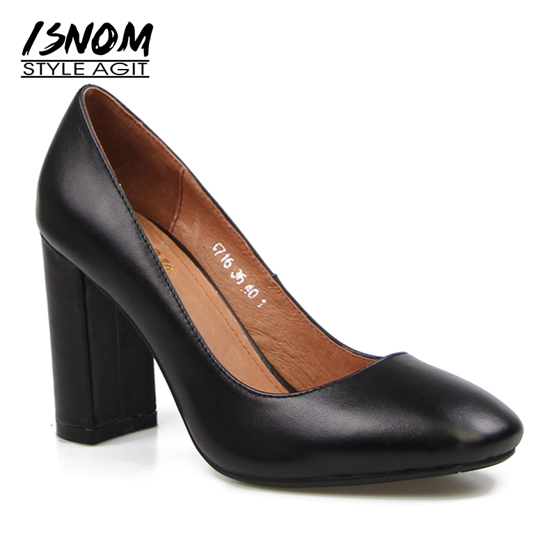 2018 Basic High Heels Natural Leather High Thick Heel Pumps Slip On Square Toe Ladies Nice Tree Female shoes Women Footwear nayiduyun women genuine leather wedge high heel pumps platform creepers round toe slip on casual shoes boots wedge sneakers