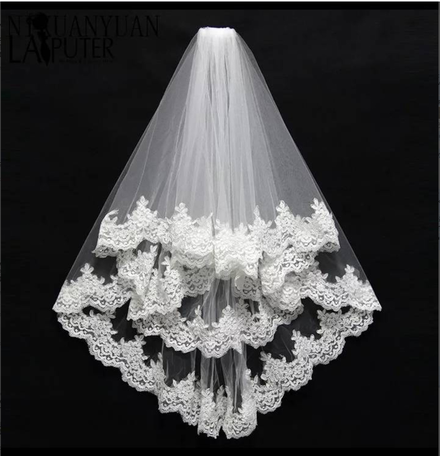 6 M Long Wedding Accessories Bridal Veils with Applique Lace Edge Luxury Chapel Train White Ivory Long Velo Vail Single Layer