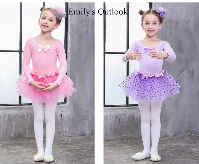 313d0315e Long Sleeve Cute Kids Ballet Dress Child Leotard Tutu Skirt ...