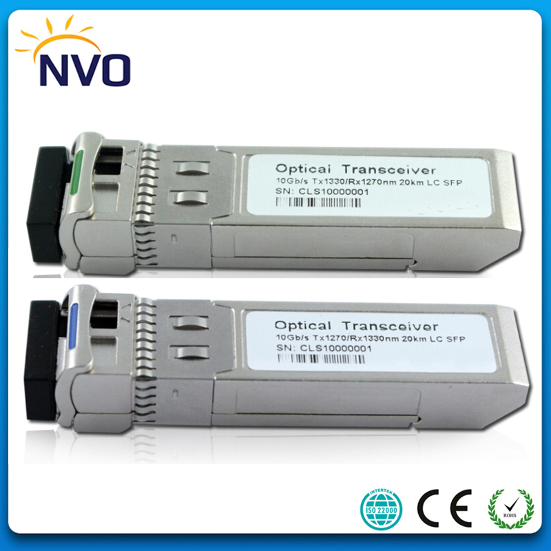 Free Shipping 5Pair/lot,10GBASE-LR Optical Module 10G 1270nm/1330nm 20km DDM WDM BiDi SFP+ LC Fiber Optical Transceiver