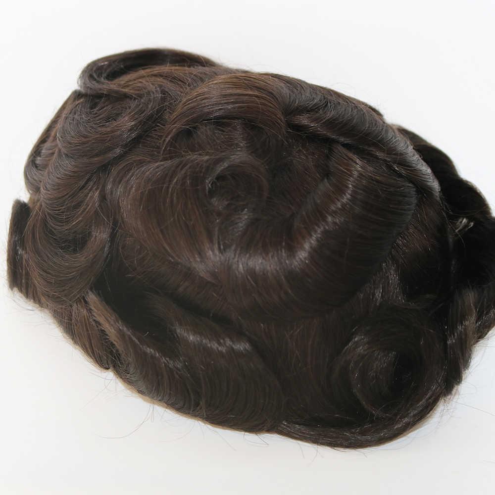 SimBeauty Q6 Base de hombre tupé Peluca de cabello humano indio de sustitución del sistema de prótesis de pelucas para hombres