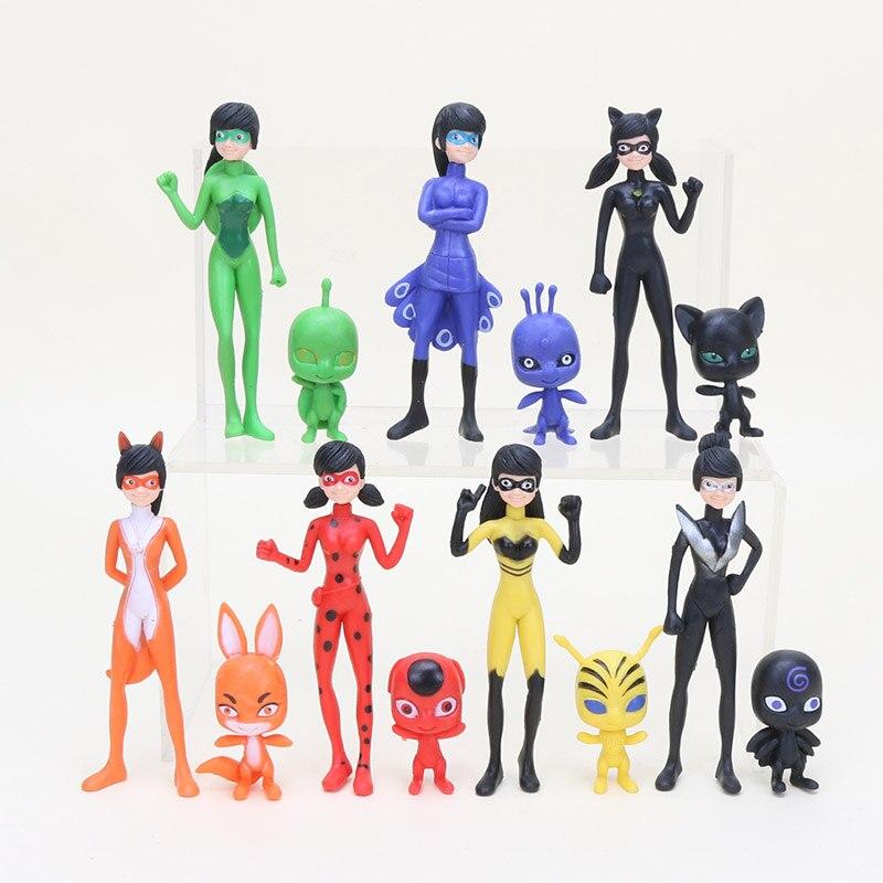 PVC Figures Toys Ladybug Tikki Marinette 14pcs/Lot Adrien Plagg 5-10cm