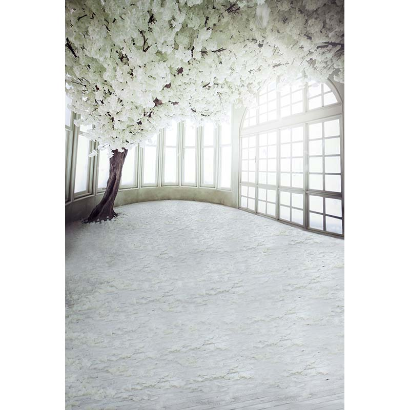 Customize Vinyl Cloth Print White Floral House Photo Studio Background For Wedding Photocall Photography Backdrops CM