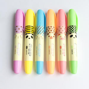 Office-Supply Highlighter-Marker Stationery School Panda-Pig Drawing Remark Kawaii Colored-Pen