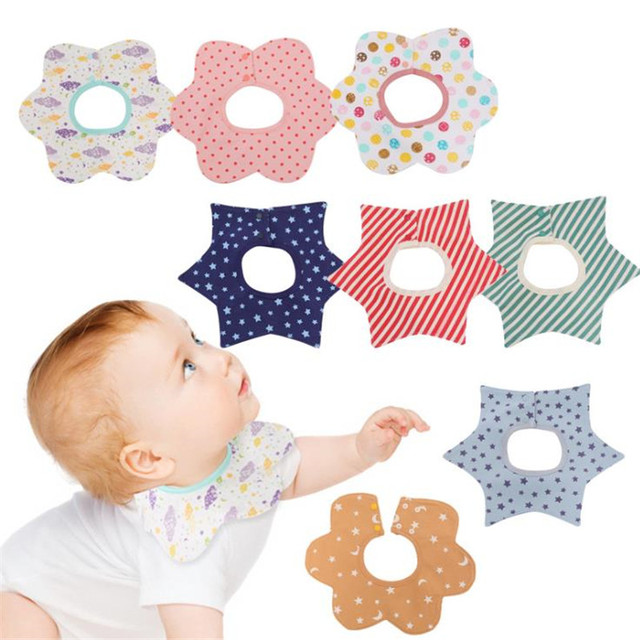 Brand Waterproof Baby Bibs 360 Rotation Bandana Cotton Printed Kids Burp Cloth Cute Baby Scarf Saliva Towel