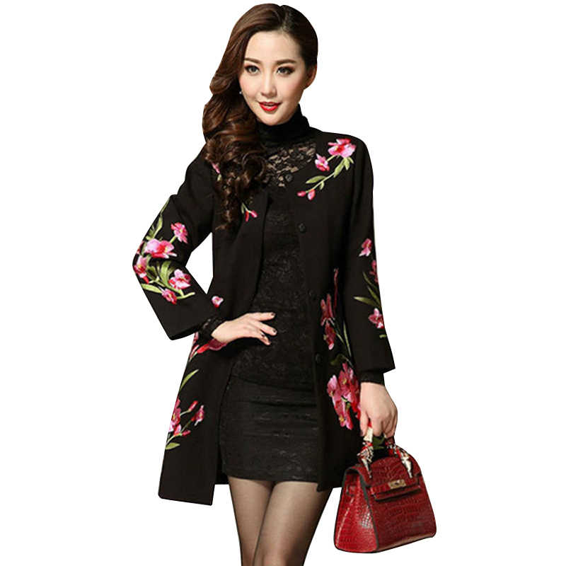 Autumn winter new female jacquard woolen coat womens black national wind silm floral printing embroidery long coat M to 4XL