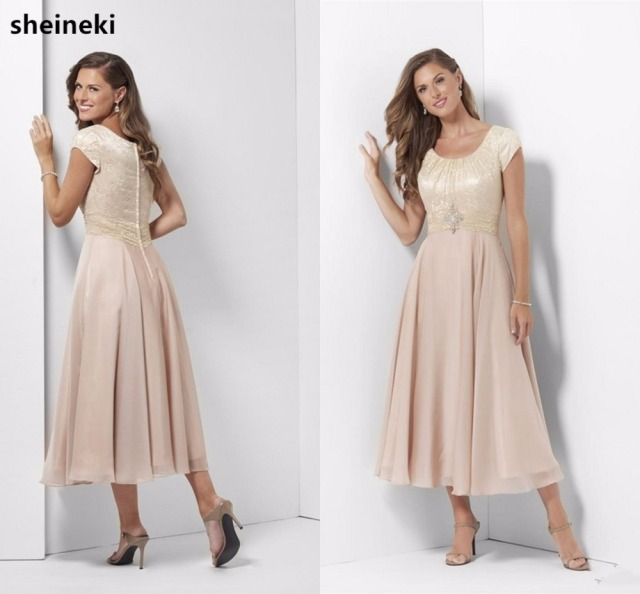 f76f7be2e1c Champagne Chiffon Long Modest Bridesmaid Dresses With Sleeves Lace Tea  Length Mother s Casual Wedding Party Dresses Brides Maids