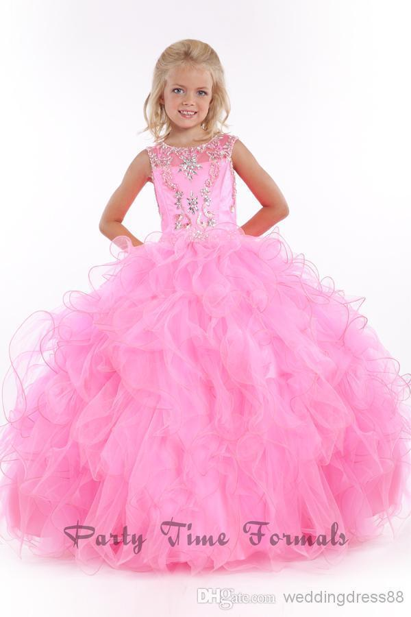 dd5a60f98f7 Exquisite Wholesale 2015 New Violet pink Pleat Beads Jewel Sleeveless Gown  Soft tulle kids prom flower girl dresses Customize-in Flower Girl Dresses  from ...