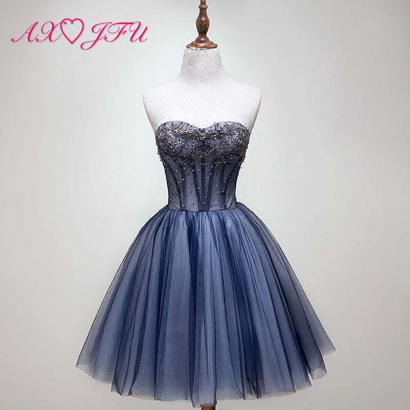 AXJFU blue lace beading evening dress short blue pearls crystal lace evening dress sleeveless a line