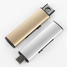 Tira frete Grátis Isqueiro de Metal Isqueiro USB Isqueiro Eletrônico Recarregável Sem Chama Charuto Dupla Face de Plasma